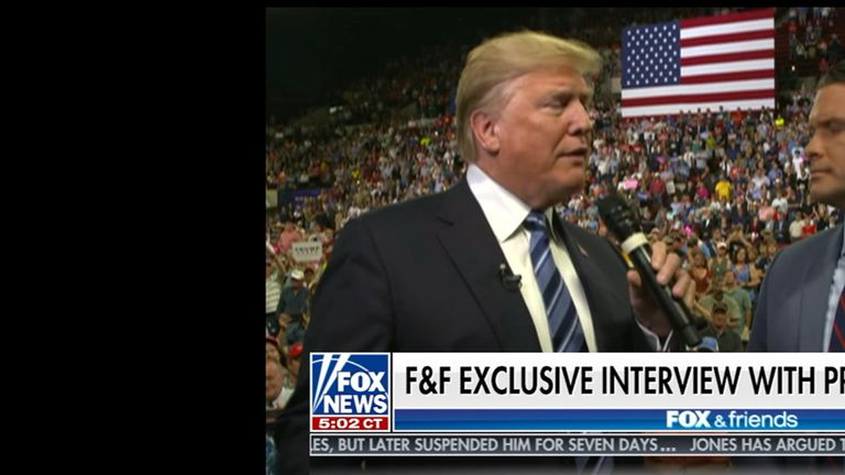 US President Donald Trump talking to Fox & Friends.
