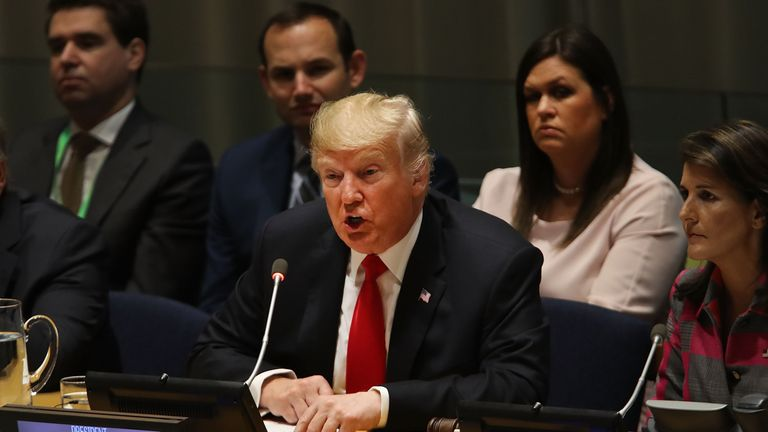 President Donald Trump attends a meeting on the global drug problem at the United Nations (UN) a day ahead of the official opening of the 73rd United Nations General Assembly on September 24, 2018