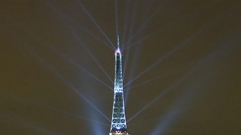 The Eiffel Tower is lit up by Japan-inspired light show