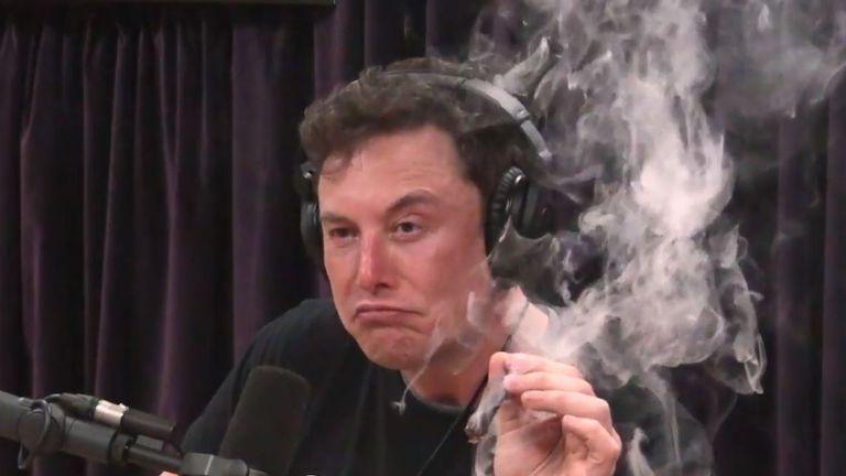 Elon Musk said he 'almost never' smoked weed. Pic: YouTube/PowerfulJRE