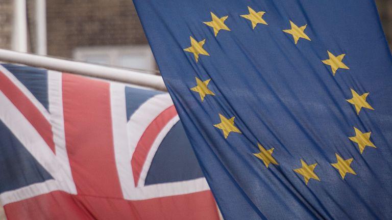 EU and Union flags together