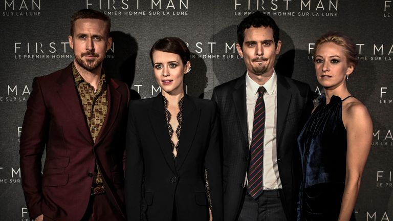 First Man stars Ryan Gosling and Claire Foy with director Damien Chazelle