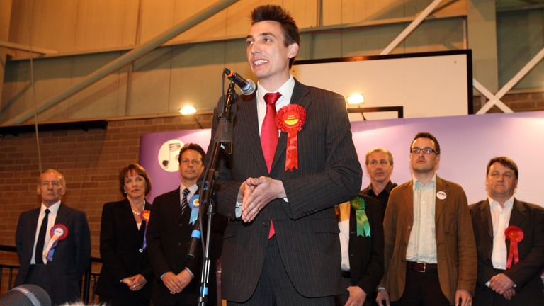Labour Parliamentary Candidate for Luton South Gavin Shuker speaks after winning the seat Luton South at Luton Regional Sports Centre in Luton, Bedfordshire.