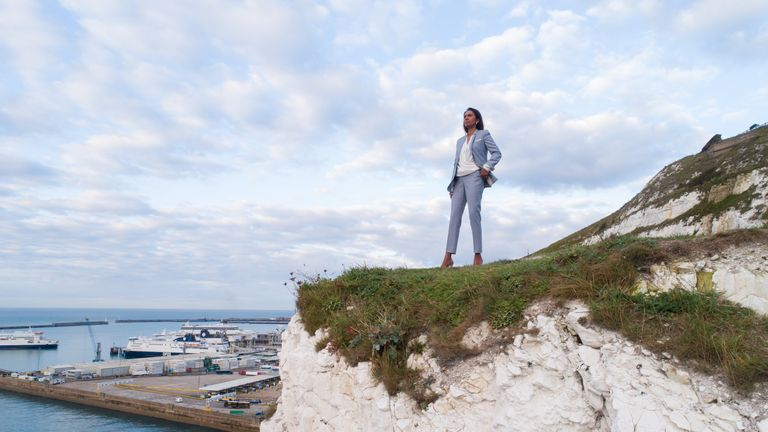 Gina Miller posing on the White Cliffs of Dover