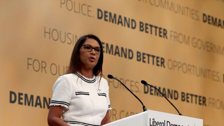 Campaigner and businesswoman Gina Miller speaks at the Liberal Democrats Autumn Conference in Brighton