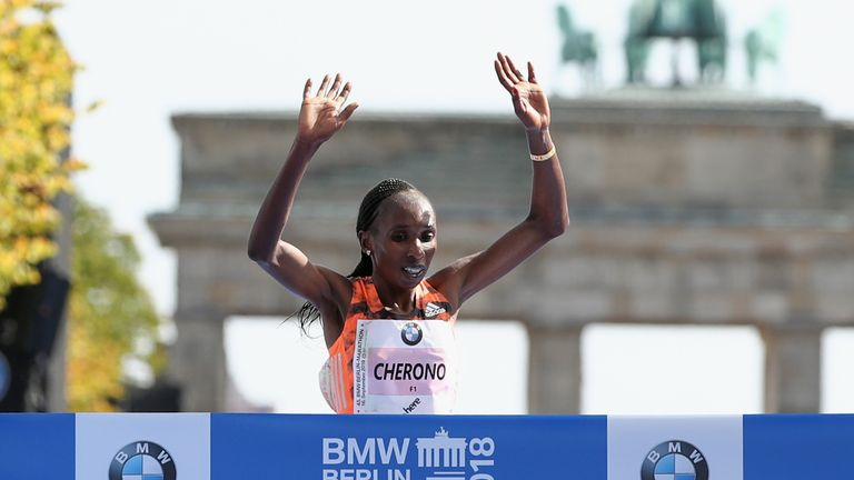 Gladys Cherono of Kenya crosses the finishing line to win the Berlin Women's Marathon 2018 on September 16, 2018 in Berlin, Germany