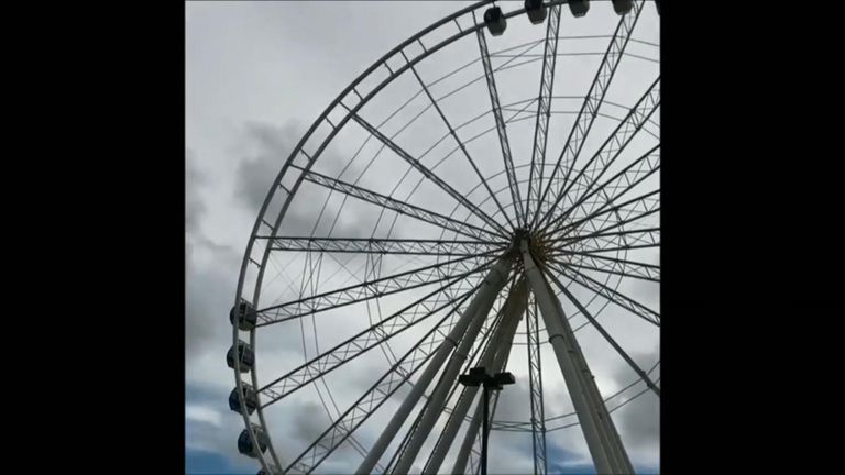 Gondolas removed from ferris wheel in South Carolina.