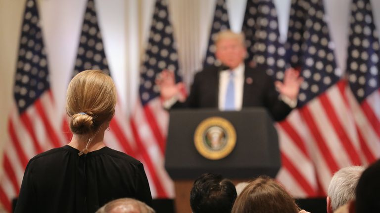Sky's US correspondent Hannah Thomas-Peter asks Donald Trump a question at the news conference