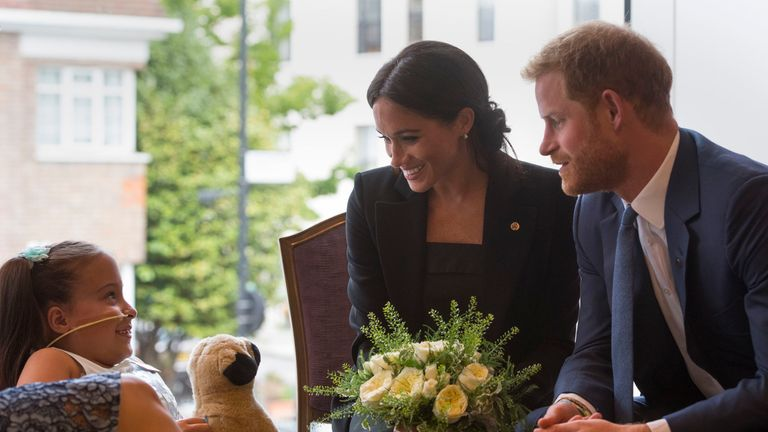The Duke and Duchess of Sussex meet 7 year old Matilda Booth
