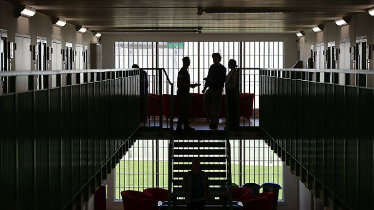 WREXHAM, WALES - MARCH 15: Prisoners congregate in a cell area at HMP Berwyn on March 15, 2017 in Wrexham, Wales. The mainly category C prison is one of the biggest jails in Europe capable of housing around to 2,100 inmates.  (Photo by Dan Kitwood/Getty Images)