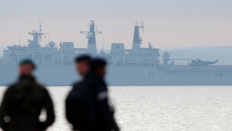 Plans to save the UK's two amphibious ships were unveiled at the Conservative Party Conference