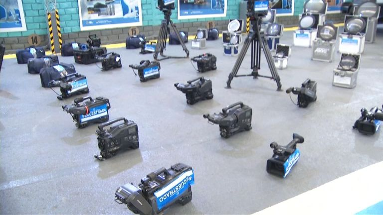 Cameras worth hundreds of thousands of dollars are displayed by Argentinian police
