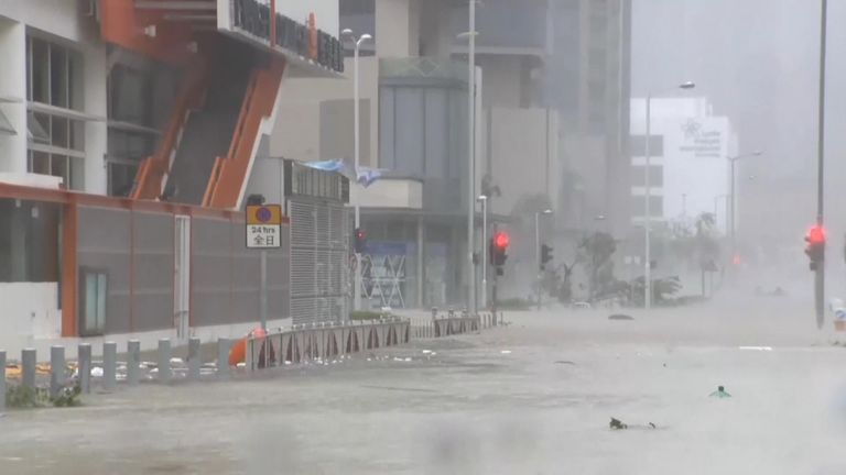 Hong Kong battered by typhoon