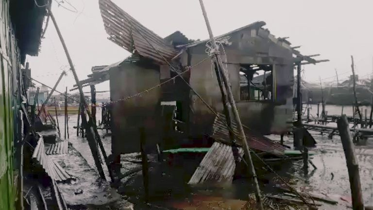 A damaged house in Pangasinan province