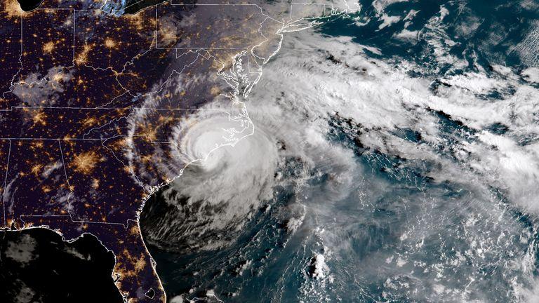 NOAA satellite image shows Hurricane Florence as it made landfall near Wrightsville Beach, North Carolina