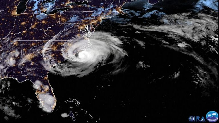 Sat image of hurricane florence with movement of storm