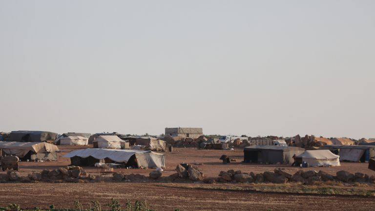 A view of tents at a refugee camp for the internally displaced Syrians in Idlib province