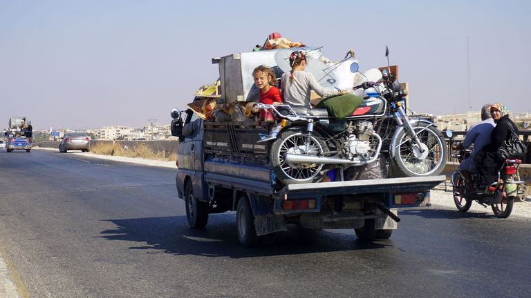 People have been fleeing their homes in Idlib ahead the expected offensive
