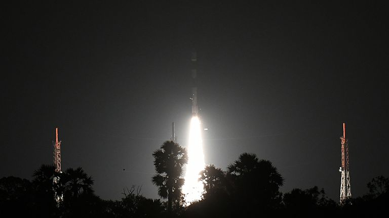 India's Indian Space Research Organisation's (ISRO) Polar Satellite Launch Vehicle , , takes off from the launchpad with two British satellites onboard at Satish dawan space center in Sriharikota on September 16, 2018. (Photo by ARUN SANKAR / AFP) (Photo credit should read ARUN SANKAR/AFP/Getty Images)