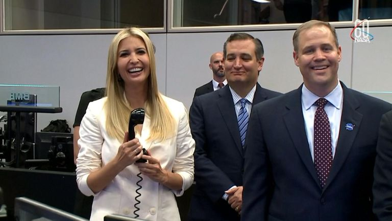 Ivanka Trump smiled as she was complimented by the Russian astronaut