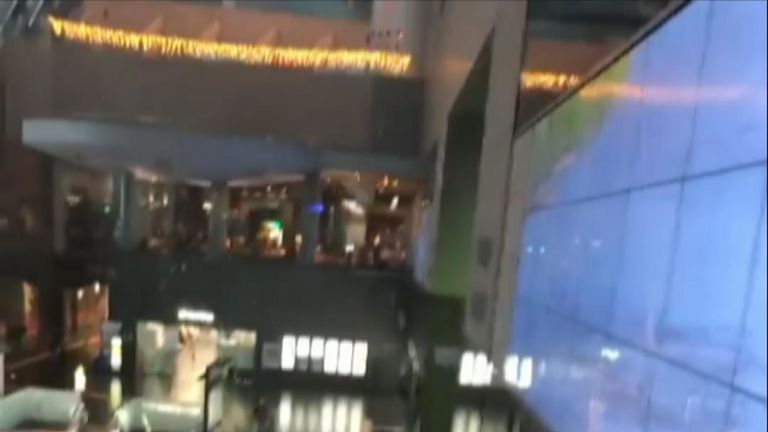 In Kyoto, debris from the typhoon hit the glass ceiling of the central train station, causing glass to fall into the atrium below, narrowly missing several people.