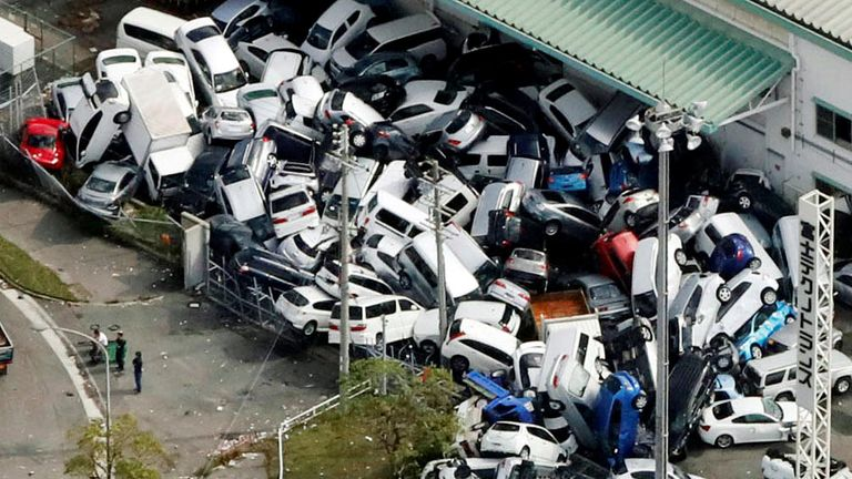Vehicles damaged by Typhoon Jebi in Kobe, western Japan,