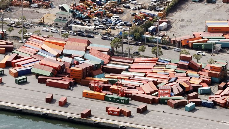 Containers damaged by Typhoon Jebi in Kobe, western Japan