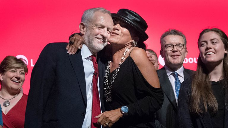 Jeremy Corbyn is congratulated by supporters after his conference speech