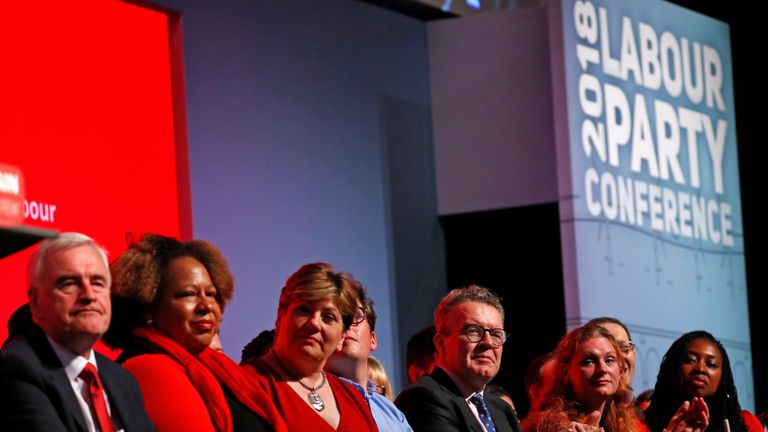 Members of the shadow cabinet sit on stage and listen to Jeremy Corbyn delivering his keynote speech