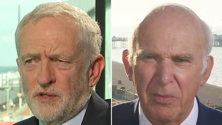 Jeremy Corbyn (L) and Vince Cable