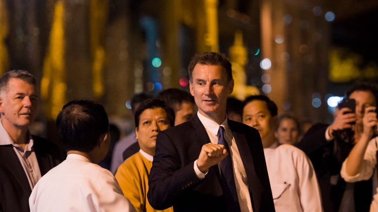 Jeremy Hunt has arrived in Myanmar where he has promised to ask difficult questions