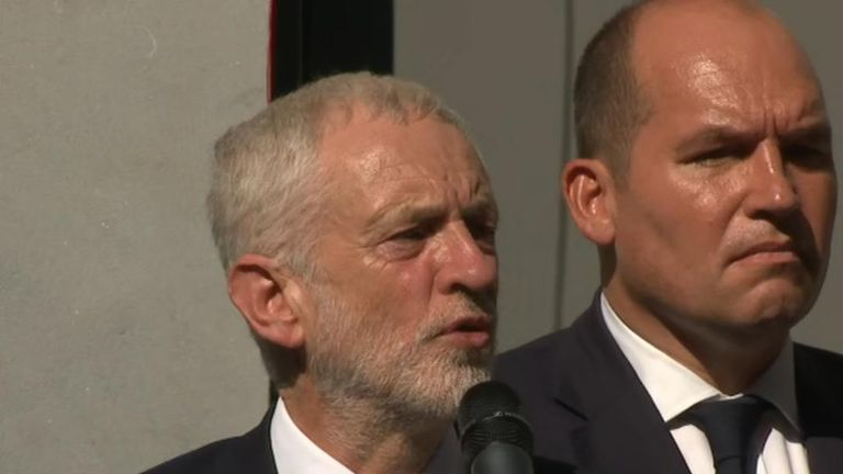 Labour leader Jeremy Corbyn pays tribute to murdered MP Jo Cox in Brussels