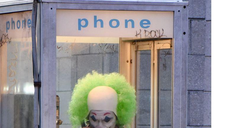 Joaquin Phoenix on set filming Joker in New York