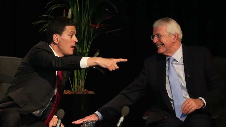 Sir John Major (right) and David Miliband speak on Brexit during a Best for Britain event at the Harton Academy