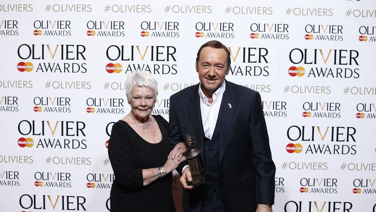 Judi Dench and Kevin Spacey at the Royal Opera House in central London on April 12 2015