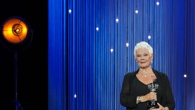 Actress Judi Dench receives the Donostia Award during the 66th San Sebastian International Film Festival