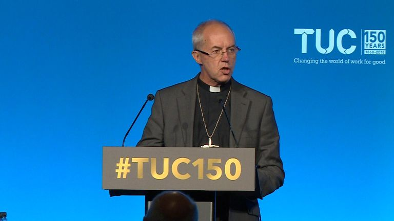 Mr Welby told the TUC  he was a strong supporter of trade unions