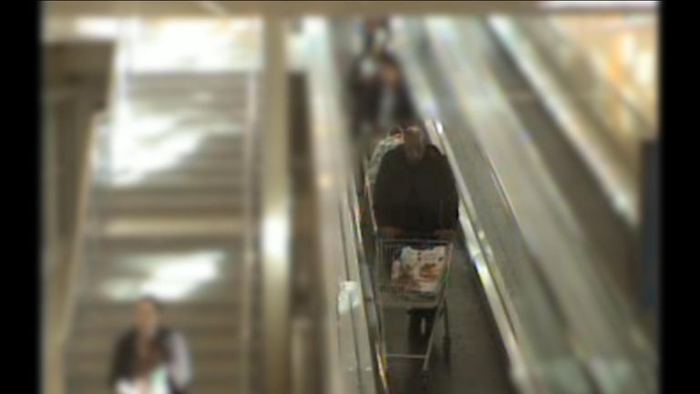 Khalid Masood is seen going down an escalator into a Tesco branch in Camden on 9 March