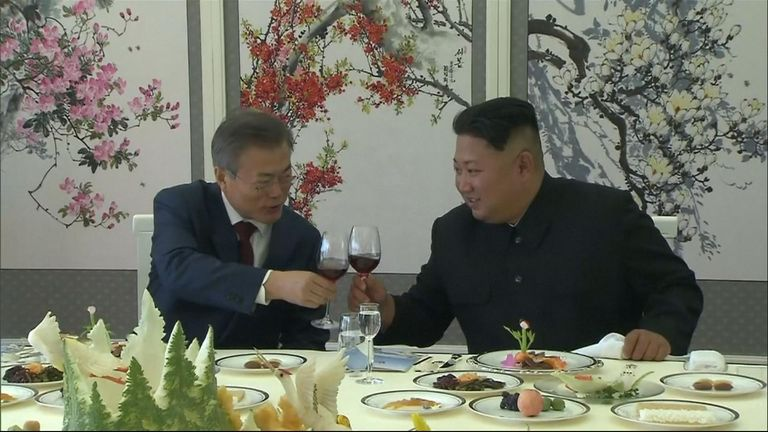 North Korean leader Kim Jong Un toasted his South Korean counterpart, Moon Jae In -  and his wife - but left out his own wife.
