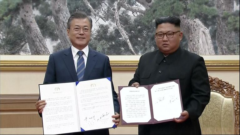 Moon Jae-in and Kim Jong Un have signed a joint declaration to work towards a nuclear free Korean peninsula