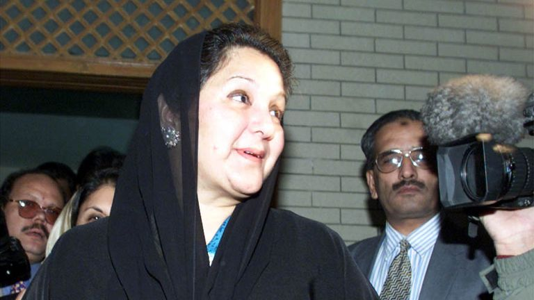 Kulsoom Nawaz, wife of deposed prime minister Nawaz Sharif leaves her Islamabad residence prior to departing the country December 10, 2000. Sharif and his family were exiled to Saudi Arabia by the military rulers, 14 months after he was overthrown.