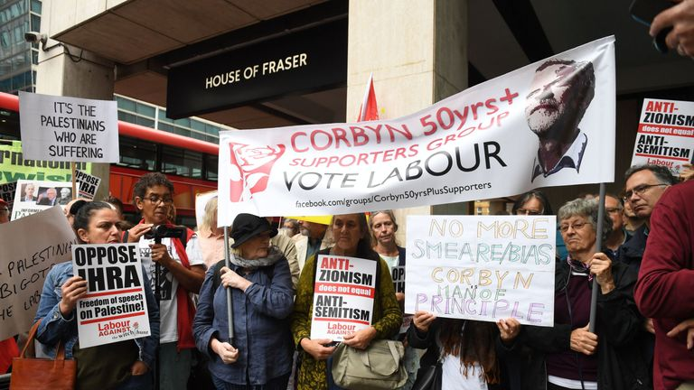 Activists outside a meeting of the Labour National Executive Committee in London which is expected to decide on whether to adopt the International Holocaust Remembrance Alliance (IHRA) definition of anti-Semitism and its examples, which has been the subject of a bitter row within the party over recent months.
