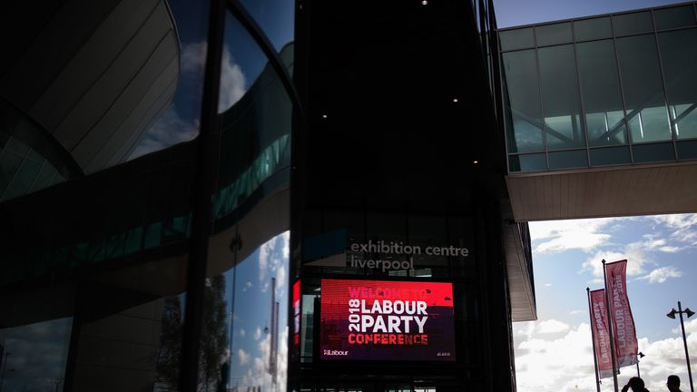 A sign welcomes delegates to the ACC Liverpool during the first day of the annual Labour Party conference in Liverpool