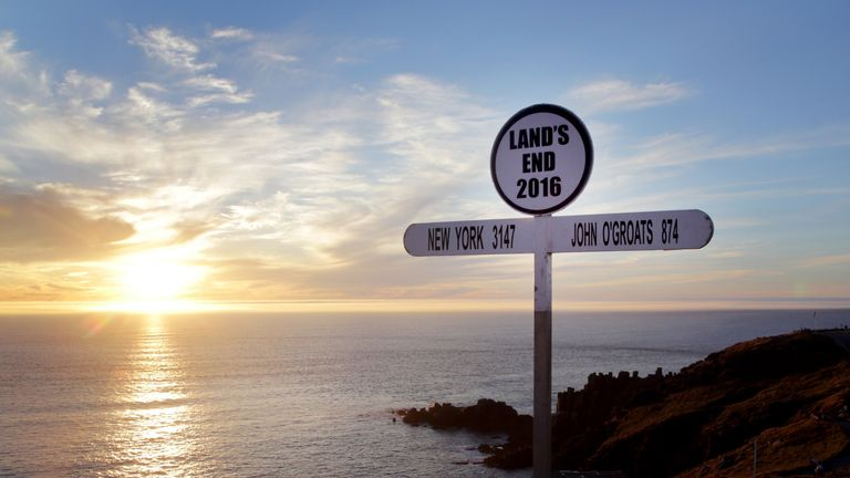 The sign at Land's End in Cornwall