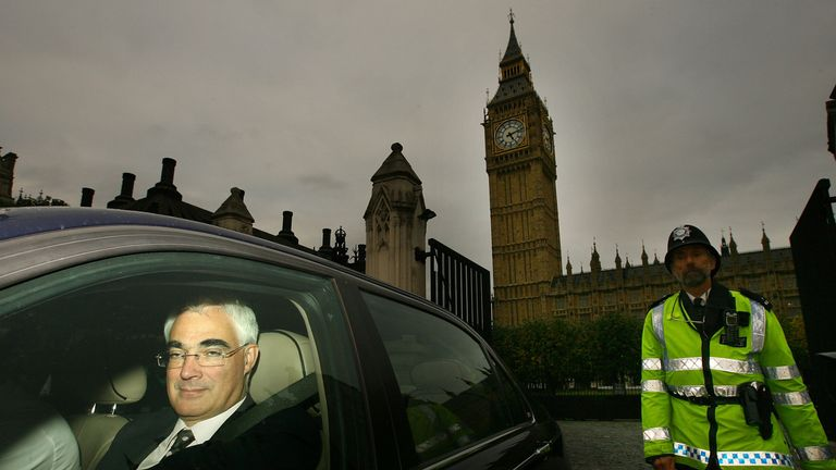 Alistair Darling is driven from the House of Commons at the height of the banking crisis of 2008