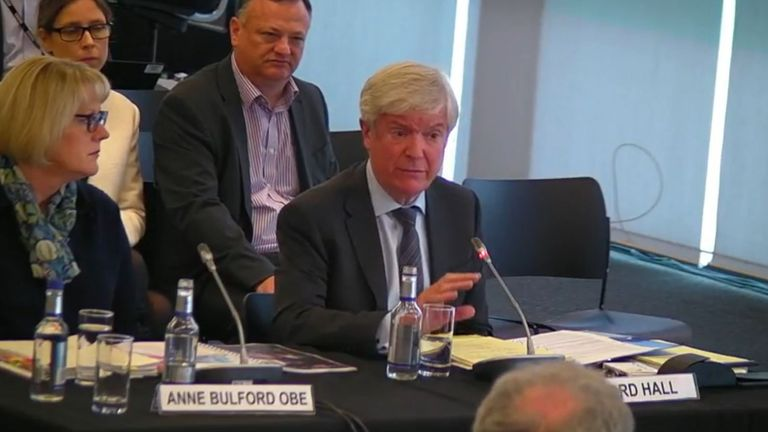 BBC Director General Lord Hall and BBC Deputy Director General Anne Bulford giving evidence