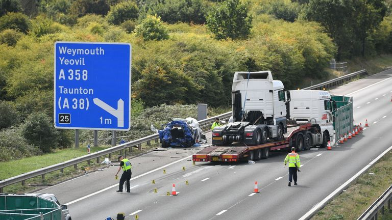 M5 crash: Man and woman killed in seven-vehicle collision in