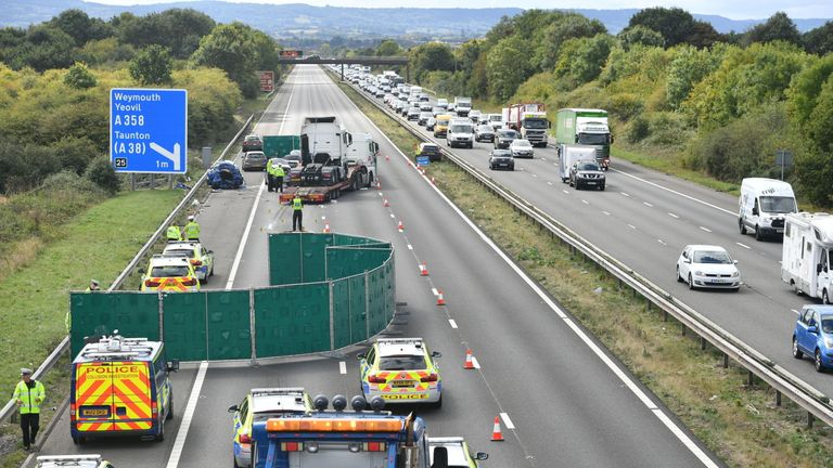 The motorway was closed in both directions between junction 24 and junction 25