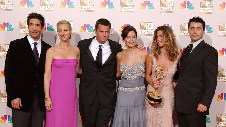 Matthew Perry, centre, with the cast of the US sitcom Friends