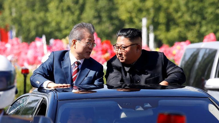 South Korean President Moon Jae-in and North Korean leader Kim Jong Un in Pyongyang, North Korea
